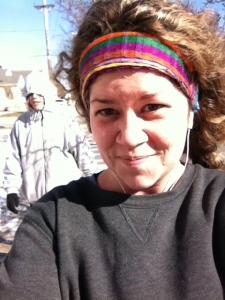 The creeper in the background is my sister. It was a cold day to run.
